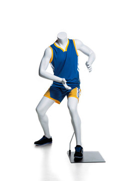 Athletic Matte White Basketball-posing Headless Boy Mannequin MM-KBK02