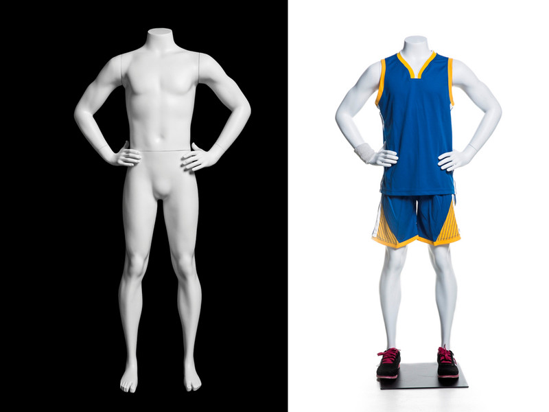 Athletic Matte White Headless Boy Mannequin MM-HEF025