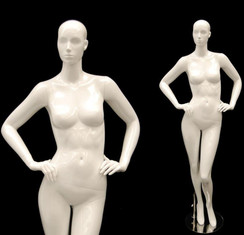 Sage, Gloss White Abstract Female Mannequin with face features MM-ANN-A3