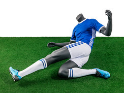 Soccer Player Male Tackling Pose Mannequin Matte Grey MM-TQ05