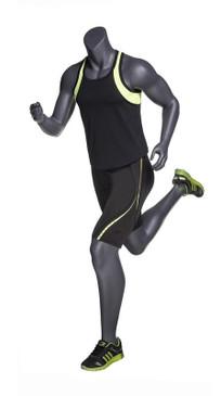 Alex 3, Matte Grey Fiberglass Athletic Headless Male Mannequin MM-NI-04SP