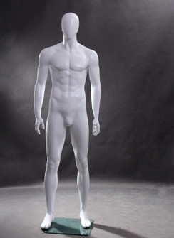 Mike, Gloss White Abstract Egg Head Male Mannequin MM-WEN4EG