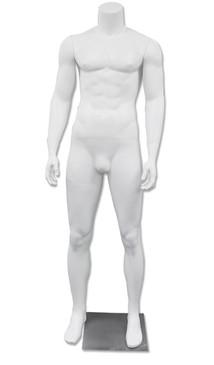 Used/Damaged DJ 3, High-End Fiberglass Headless Male Mannequin Matte White MM-HM90WUSED