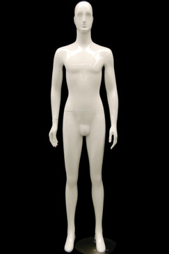 RJ, Gloss White Abstract Egg Head Male Mannequin with face features MM-XDM02