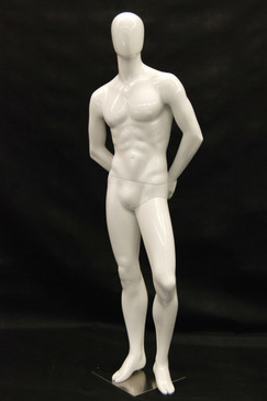 Rich, Gloss White Abstract Egg Head Male Mannequin MM-C29