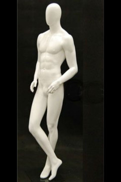 Ray J, Matte White Abstract Egg Head Male Mannequin MM-MIK02WEG