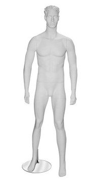 Robin, Matte White Abstract Male Mannequin with face features MM-MM3W