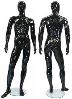 Alan, Gloss Black Abstract Egg Head Male Mannequin MM-GM53BK1