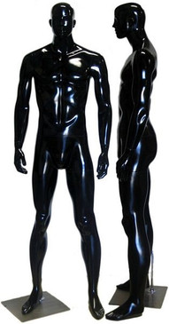 Arthur, High-End Glossy Black Abstract Male Mannequin with face features MM-333BLK