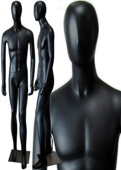 JD, Matte Black Abstract Egg Head Male Mannequin MM-145BLK