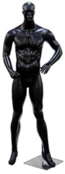 Jerome, Matte Black Abstract Male Mannequin with face features MM-112BLK