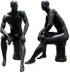 Jose, Matte Black Abstract Seated Male Mannequin with face features MM-071BLK
