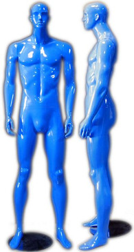 Kaden, Gloss Blue Abstract Male Mannequin with face features MM-333BLU