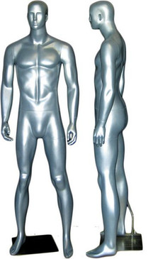 Silver Abstract Male Mannequin with face features MM-333SIL