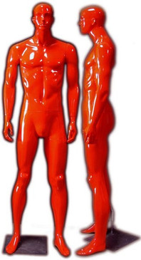 Kevin, Gloss Red Abstract Male Mannequin with face features MM-333RED