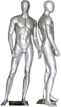 Gary, Silver Abstract Egg Head Male Mannequin MM-169SIL