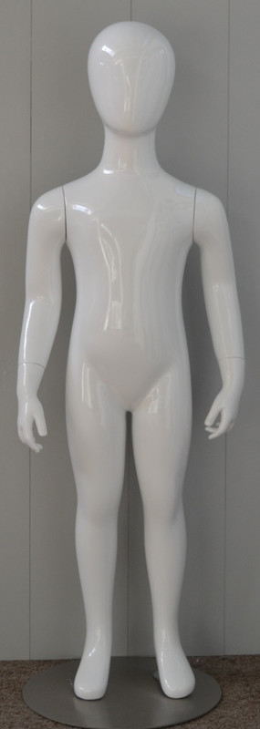 Gloss White Abstract Egg Head Child Mannequin 4 Y.O. MM-CW4YEG