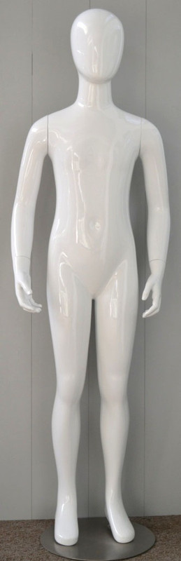 Gloss White Abstract Egg Head Child Mannequin 10 Y.O. MM-CW10YEG