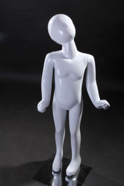 Gloss White Abstract Egg Head Child Mannequin MM-TM1