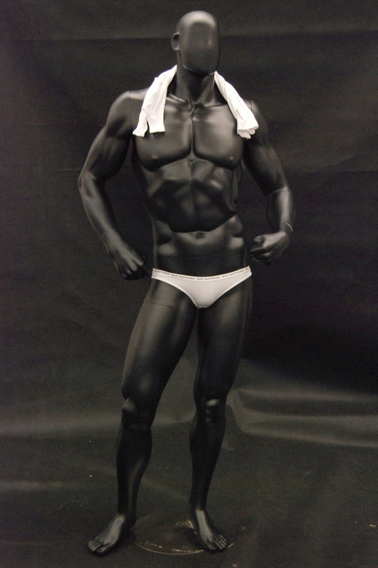 Bodybuilder Male Mannequin Matte Black MM-MANB