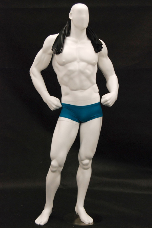 Bodybuilder Male Mannequin Matte White MM-MANW