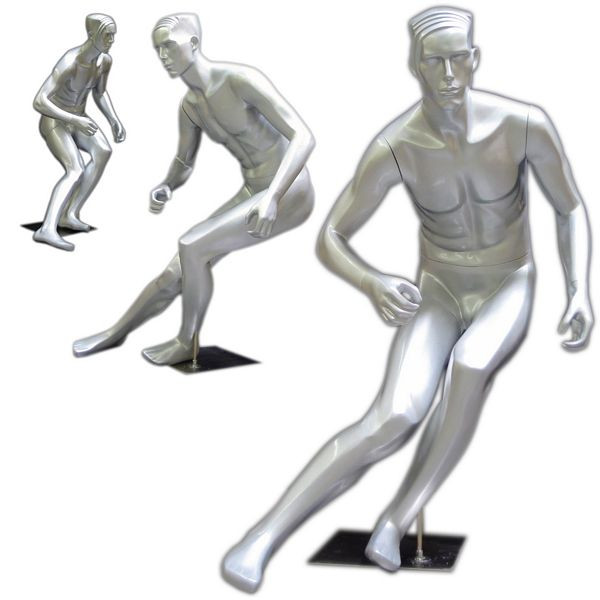 Sports Male Mannequin Gloss Silver MM-205