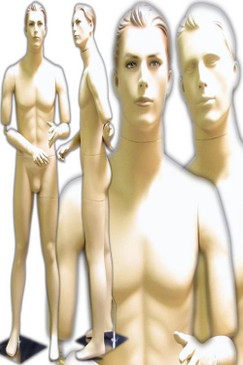 Flexible Male Mannequin Fleshtone with 2 Interchangeable Heads MM-199