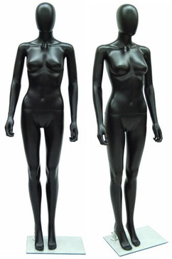 Black Plastic Female Egg Head Mannequin MM-PSF6BK-EG