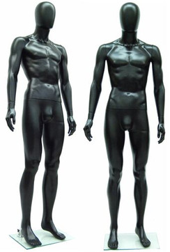 Black Plastic Male Egg Head Mannequin MM-PSM1BK-EG