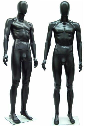 Black Plastic Male Egg Head Mannequin MM-PSM1BK-EG
