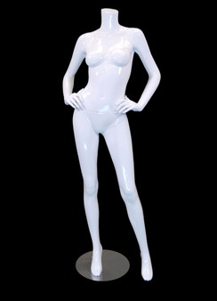 Carmen 3, Fiberglass Headless Female Mannequin Gloss White MM-A4BW1