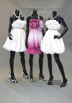 Three Fiberglass Headless Female Mannequin Group Gloss Black MM-A2-A3-A4BB