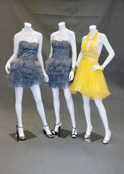 Three Fiberglass Headless Female Mannequin Group Matte White MM-A2-A3-A4BW2