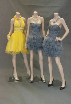 Three Fiberglass Headless Female Mannequin Group Matte White MM-A2-A3-A4BF