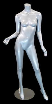 Carmen 1, Fiberglass Headless Female Mannequin Gloss Silver MM-A2BS