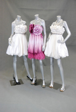 Three Fiberglass Headless Female Mannequin Group Gloss Silver MM-A2-A3-A4BS