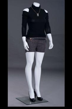 Zara 4, Fiberglass Headless Female Mannequin Matte White MM-ZARA4BW2