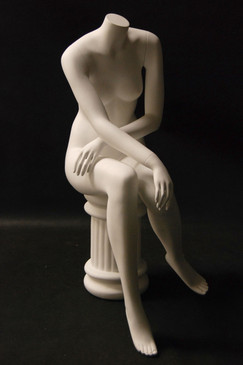 Fiberglass Headless Seated Female Mannequin Matte White MM-A7BW2