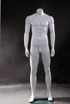 Sean 1, Fiberglass Headless Male Mannequin Gloss White MM-WEN4BW