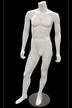 Carl 1, Fiberglass Headless Male Mannequin Matte White MM-MA2BW2