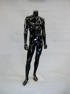 Cain 1, Fiberglass Headless Male Mannequin Gloss Black MM-MA2BB