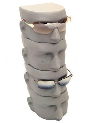Matte Gray Male Sunglass Display Head - MM-MfaceG