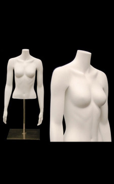 Matte White Female Headless Torso with Counter Top Base MM-EGTFS
