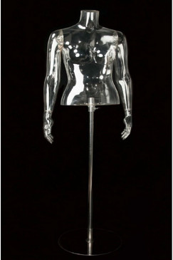 Female Clear 1/2 Torso Form w/Arms & Base MM-CL4-001/CL