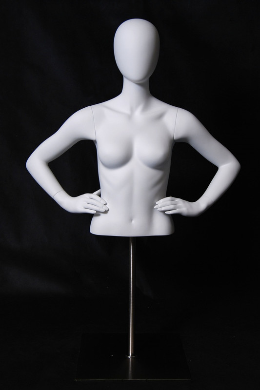 Matte White Abstract Female Torso with Counter Top Base MM-EGTFBA