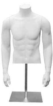 Matte White Male Headless Torso with Counter Top Base MM-MET2W