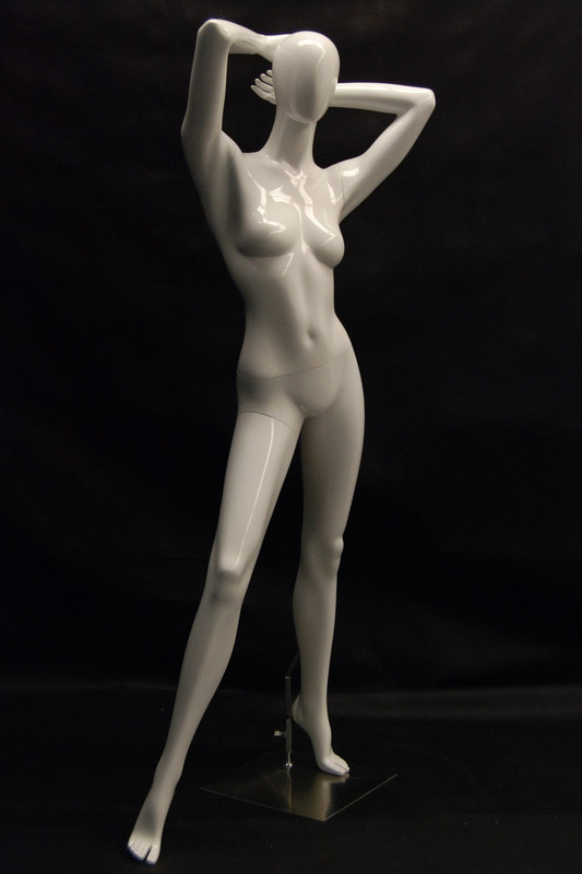 Kim, Gloss White Abstract Egg Head Female Mannequin MM-NC4-1