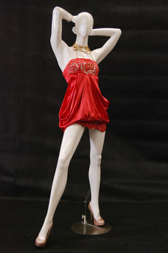 Kim, Gloss White Abstract Egg Head Female Mannequin MM-NC4 wearing red dress