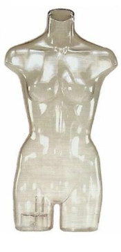 Clear Plastic Female Torso Form PS-FJW324