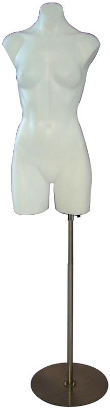White Plastic Female Torso Form with Base PS-P907W2